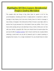 Highlights Of Ultra Luxury Residential Project Godrej Meridien.doc