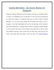Godrej Meridien - An Iconic Homes In Gurgaon.doc