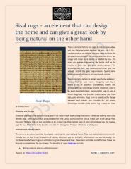 Sisal rugs – an element that can design the home and can give a great look by being natural on the other hand.pdf