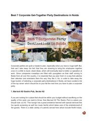 Best 7 Corporate Get-Together Party Destinations in Noida.pdf